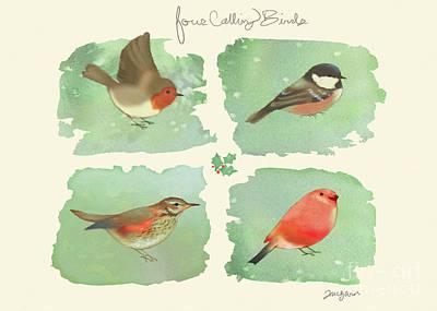Christmas Mixed Media - 4 Calling Birds by Tracy Herrmann