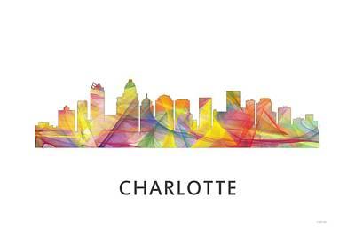 Charlotte Nc Skyline Print by Marlene Watson