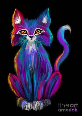 Kittens Digital Art - Colorful Cat by Nick Gustafson