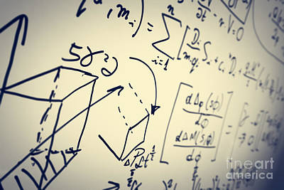 Exam Photograph - Complex Math Formulas On Whiteboard. Mathematics And Science With Economics by Michal Bednarek
