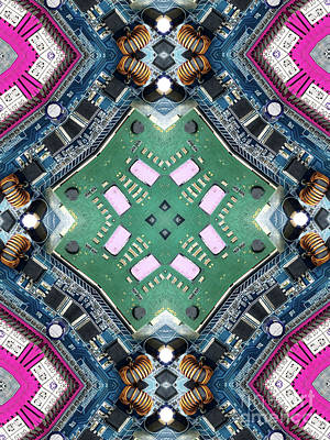 Computer Circuit Board Kaleidoscopic Design Print by Amy Cicconi