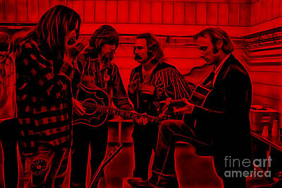 Crosby Stills Nash And Young Print by Marvin Blaine