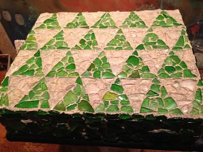 Beach Glass With Shark Tooth Mosaic Box Original by Gordon Matthews
