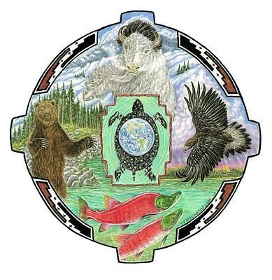 Hopi Drawing - 4 Directions Mandala by Tim McCarthy