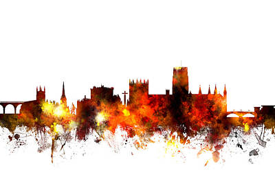 Great Britain Digital Art - Durham England Skyline Cityscape by Michael Tompsett