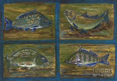 Polscy Malarze Painting - 4 Fishes by Anna Folkartanna Maciejewska-Dyba