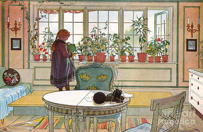 House Plant Drawing - Flowers On The Windowsill by Carl Larsson