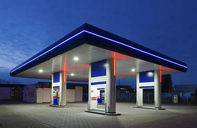 Premium Gas Photograph - Gas Station At Night by Hans Engbers