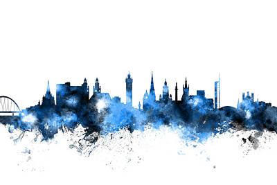 Glasgow Scotland Skyline Print by Michael Tompsett