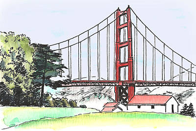 Golden Gate Bridge Print by Masha Batkova