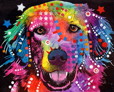 Color Painting - Golden Retriever by Dean Russo