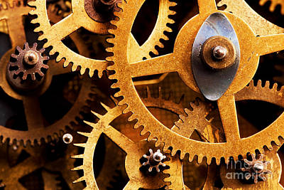 Mechanical Photograph - Grunge Gear Cog Wheels Background by Michal Bednarek