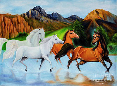 Painting - 4 Horse Runing In Water. by Fine art Photographs