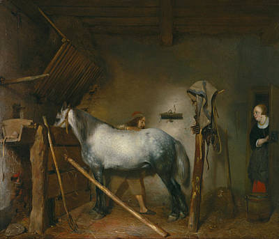 Farming Painting - Horse Stable by Gerard ter Borch