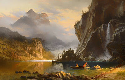 Canoe Waterfall Painting - Indians Spear Fishing by Mountain Dreams