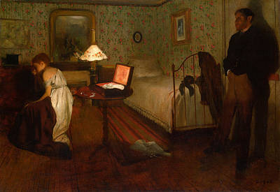 Bed Painting - Interior by Edgar Degas