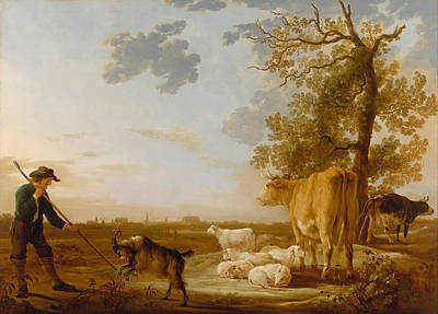 Rustic Painting - Landscape With Cattle by Aelbert Cuyp