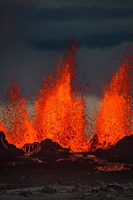 Lava Fountains At The Holuhraun Fissure Print by Panoramic Images