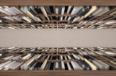 Hallway Digital Art - Library Bookshelf Aisle by Allan Swart