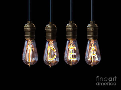 Light Bulb Background Print by Setsiri Silapasuwanchai