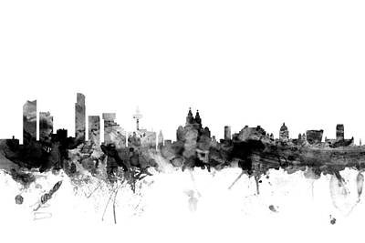 Liverpool Digital Art - Liverpool England Skyline by Michael Tompsett