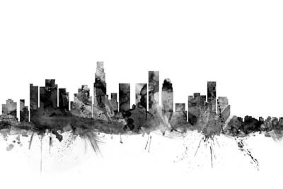 Los Angeles California Skyline Print by Michael Tompsett