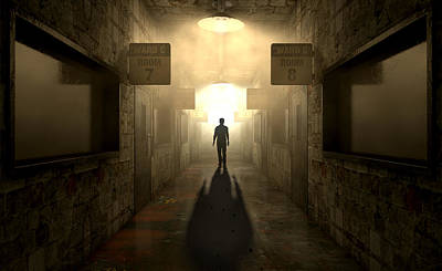 Hallway Digital Art - Mental Asylum With Ghostly Figure by Allan Swart
