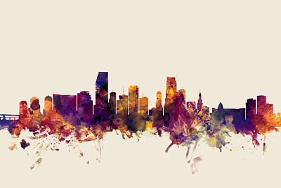Miami Skyline Digital Art - Miami Florida Skyline by Michael Tompsett