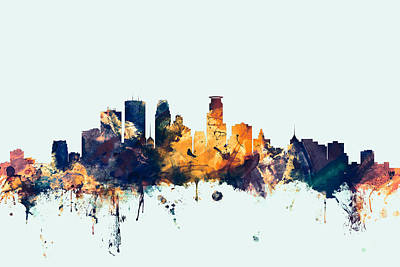 Minnesota Digital Art - Minneapolis Minnesota Skyline by Michael Tompsett