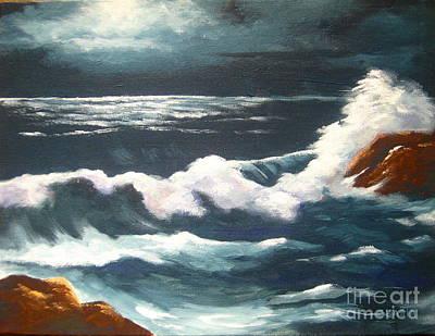 Moonlight  Tide Print by Shasta Eone