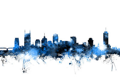 Silhouette Digital Art - Nashville Tennessee Skyline by Michael Tompsett