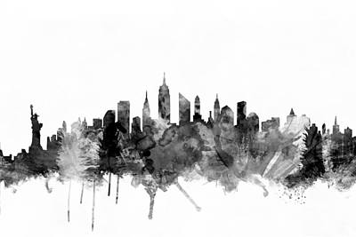 New York City Skyline Print by Michael Tompsett