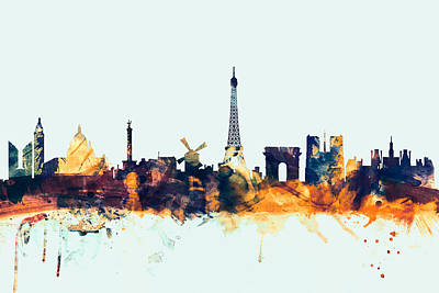 Eiffel Tower Digital Art - Paris France Skyline by Michael Tompsett