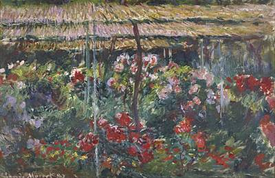 Claude Painting - Peony Garden by Claude Monet
