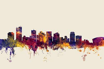 Arizona Digital Art - Phoenix Arizona Skyline by Michael Tompsett