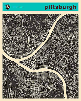 Pittsburgh Digital Art - Pittsburgh Map by Jazzberry Blue