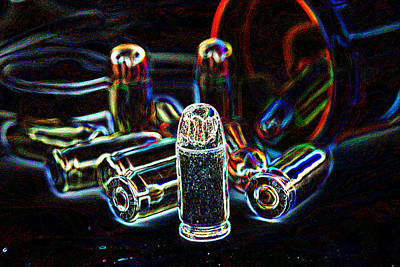 Self Shot Photograph - Pop Art Of .45 Cal Bullets Comming Out Of Pill Bottle by Michael Ledray