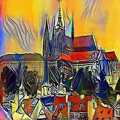 Praha Drawing - Prague Castle by Viktor Lebeda
