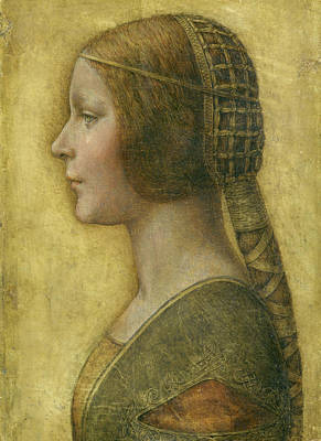 Closeup Painting - Profile Of A Young Fiancee by Leonardo da Vinci