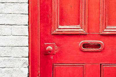 Mail Box Photograph - Red Door by Tom Gowanlock
