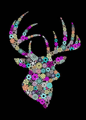 Invitations Digital Art - Reindeer Design By Snowflakes by Setsiri Silapasuwanchai