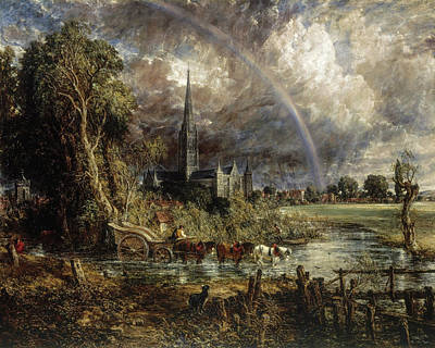 Angling Painting - Salisbury Cathedral From The Meadows by John Constable