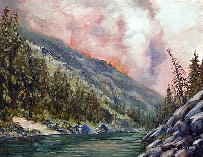 Salmon River Idaho Painting - Salmon River Blaze by Tom Siebert
