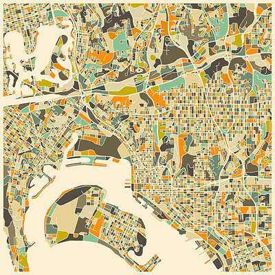 San Diego Artist Digital Art - San Diego Map by Jazzberry Blue