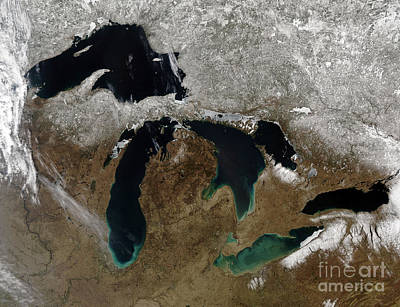 Landmass Photograph - Satellite View Of The Great Lakes by Stocktrek Images