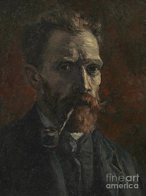 Lapel Painting - Self Portrait With Pipe by Vincent Van Gogh