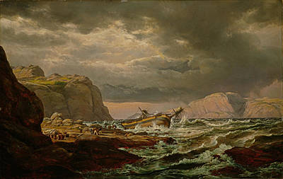 Johan Christian Dahl Painting - Shipwreck On The Coast Of Norway by Johan Christian Dahl