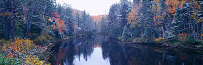 Snow And Autumn Trees, Adirondack Print by Panoramic Images