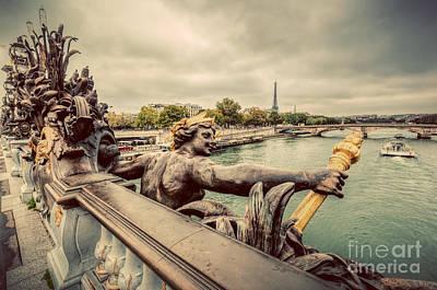 Seine Photograph - Statue On Pont Alexandre IIi Bridge In Paris, France by Michal Bednarek
