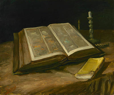 Post-impressionist Painting - Still Life With Bible by Vincent van Gogh